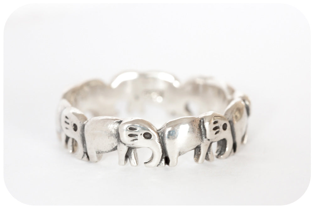 Dainty Full Body Elephant Eternity Ring in 925 Sterling Silver - Victoria's Jewellery