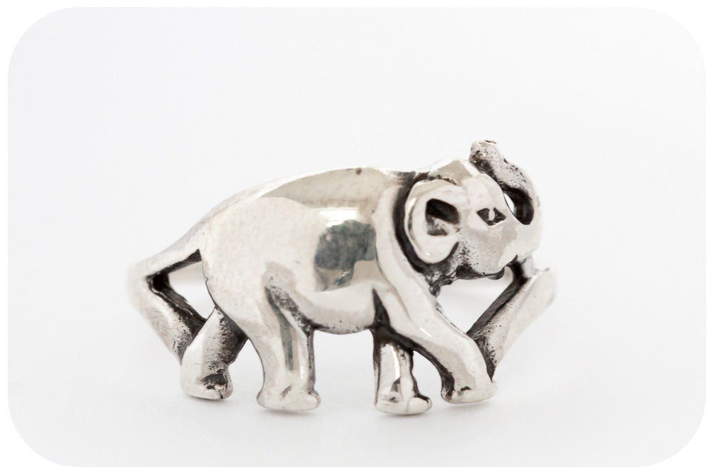 Full Body Elephant Ring With Raised Trunk, Crafted in 925 Sterling Silver - Victoria's Jewellery