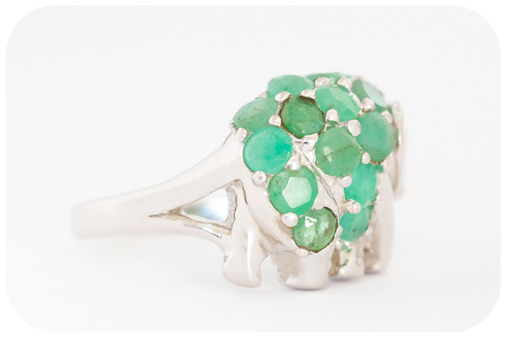 Sterling Silver Elephant Ring with 14 Emerald Stones - Victoria's Jewellery