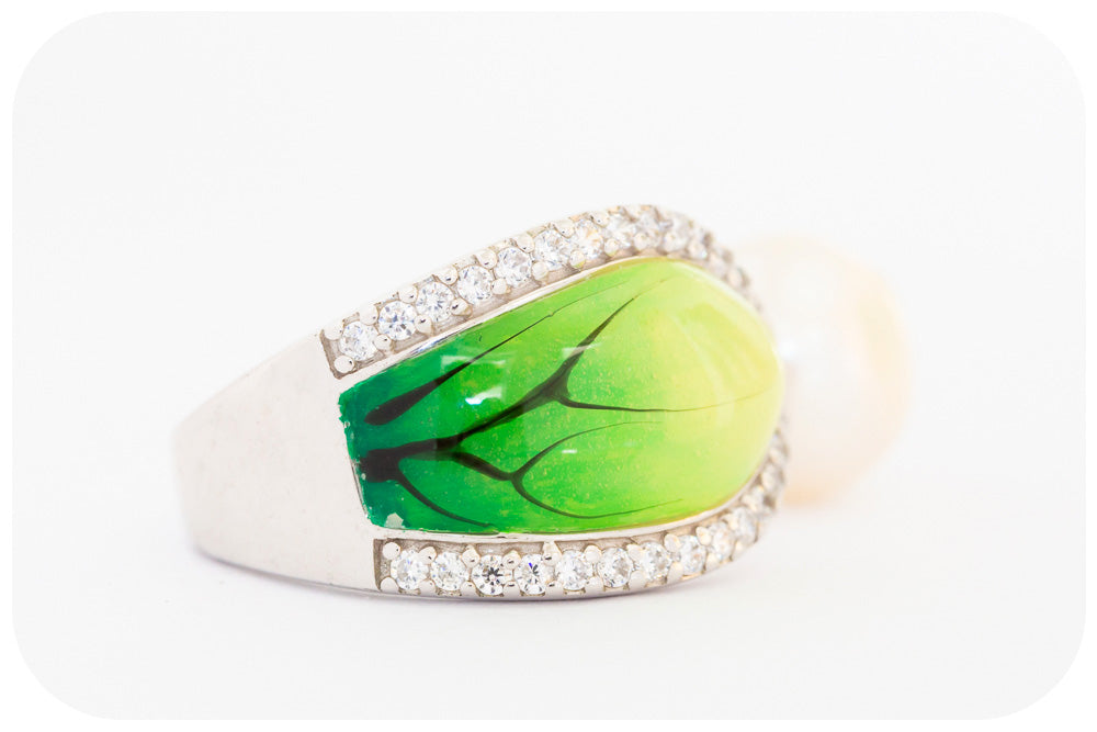 Fresh Water Pearl and Green Enamel Leaf Ring with Cubic Zirconia Detail in 925 Sterling Silver - Victoria's Jewellery
