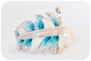 Fresh Water Pearl and Blue Enamel Leaf Ring with Cubic Zirconia Detail - Victoria's Jewellery