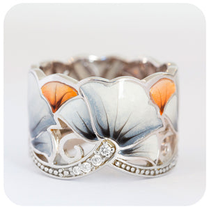 Grey Flower Enamel and Cubic Zirconia Ring in Sterling Silver - Victoria's Jewellery