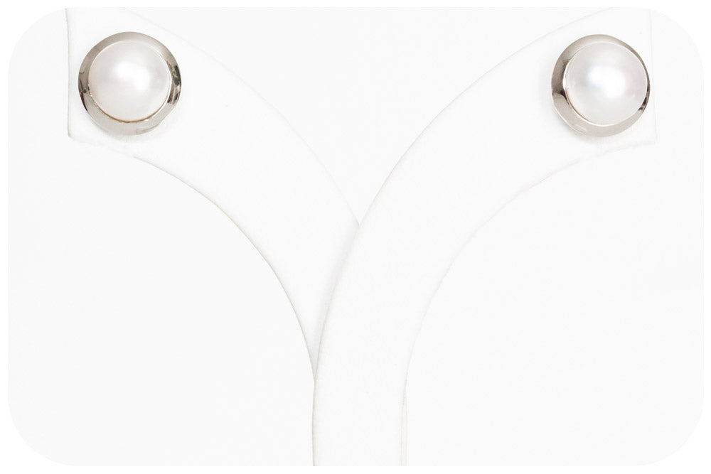 8mm White Fresh Water Pearl Stud Earrings with a Sterling Silver Frame