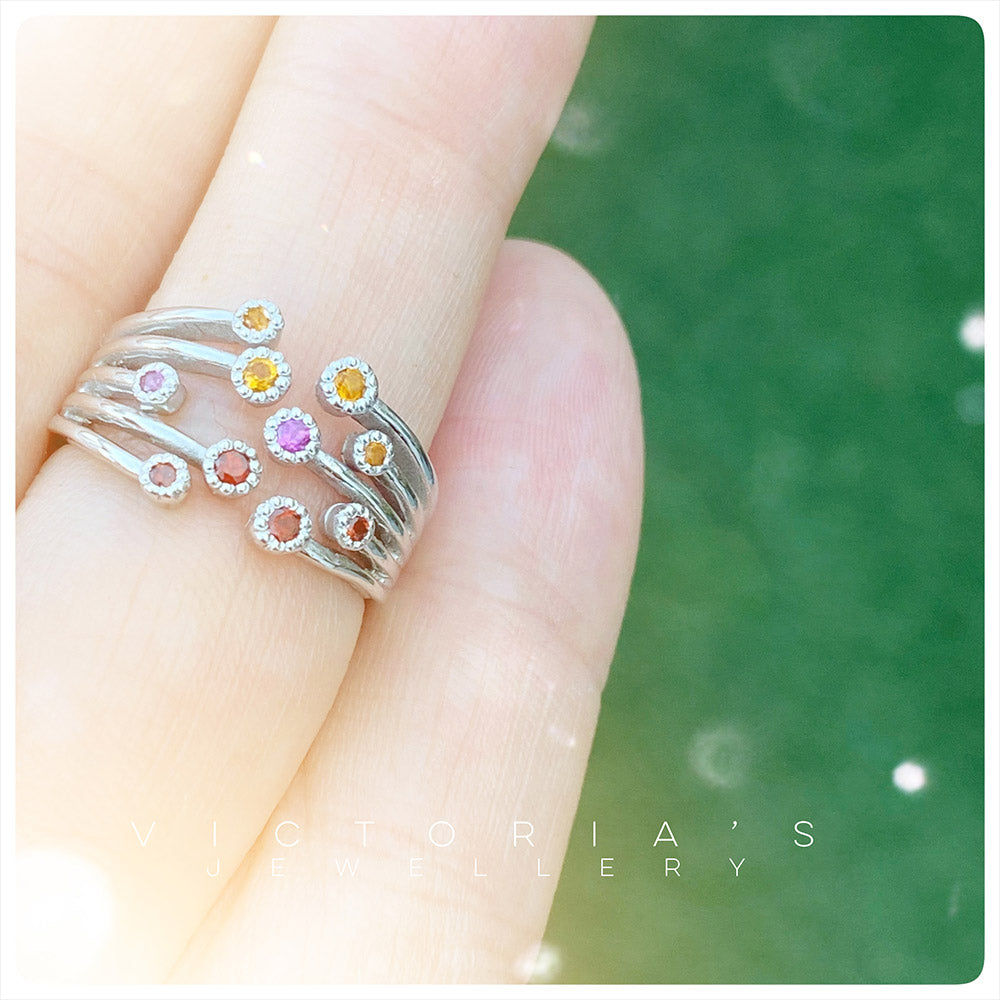 The Red and Yellow Shooting Star Ombré Ring - The January Birthstone Edition