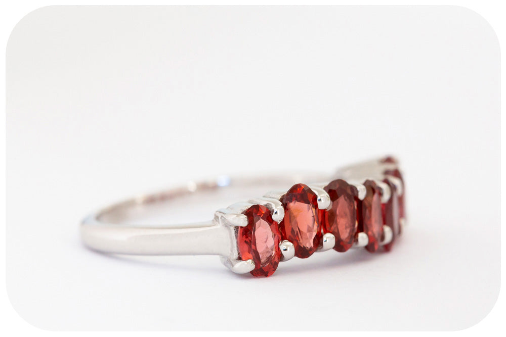 Oval cut Garnet Ring in Sterling Silver - Victoria's Jewellery