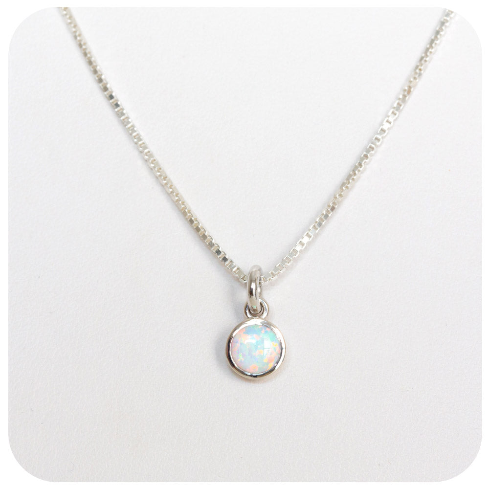 White Gilson Opal Solitaire Necklace in Sterling Silver