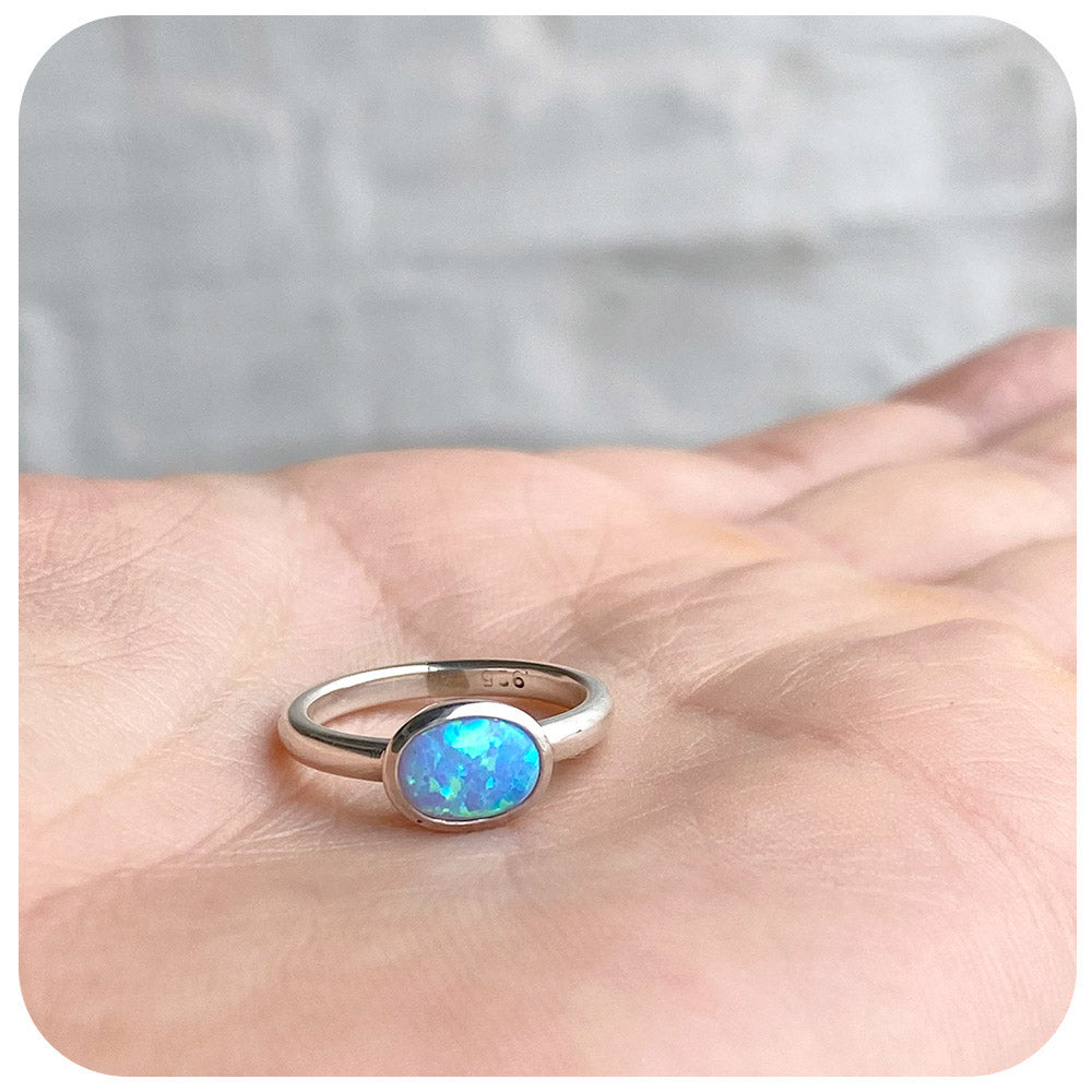 Oval cut Gilson Opal Handmade Ring in Sterling Silver