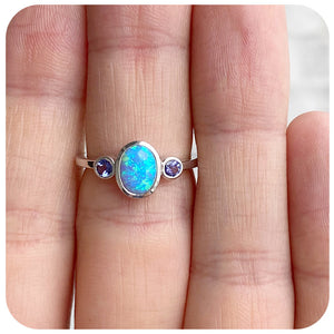 Oval cut Gilson Opal and Tanzanite Ring in Sterling Silver - 8x6mm