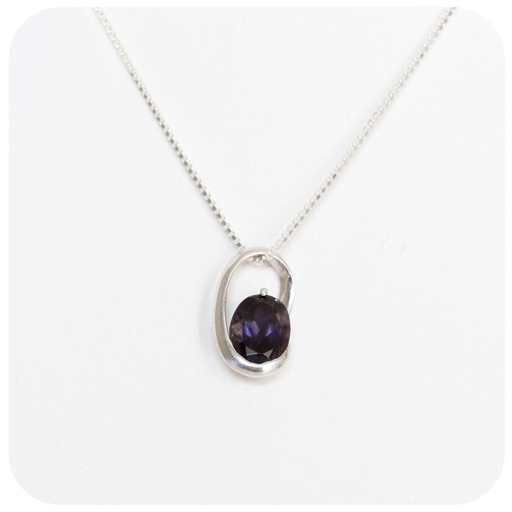 Oval cut Iolite Slider Pendant in Sterling Silver