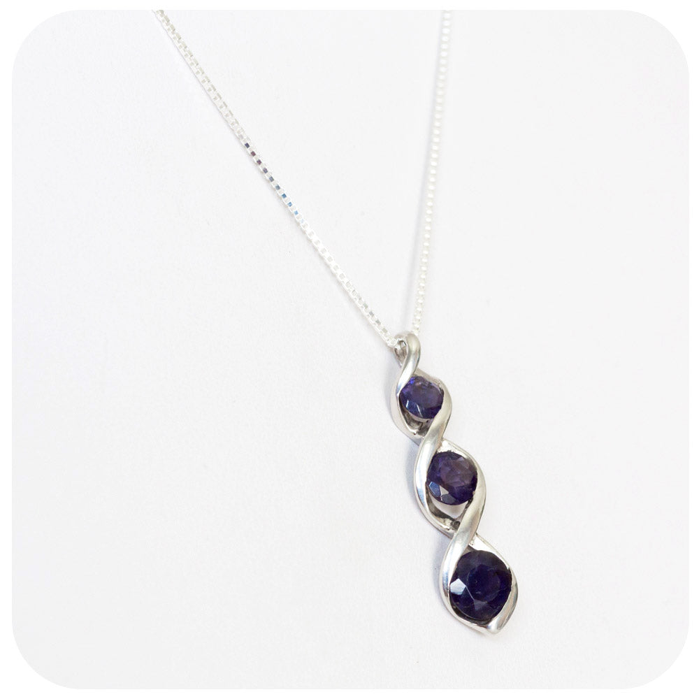 Iolite Trilogy Pendant in Sterling Silver