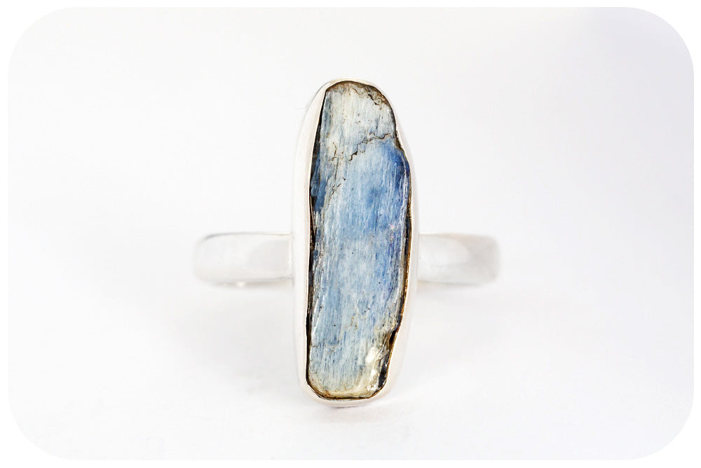 Rough cut Kyanite Ring in Sterling Silver
