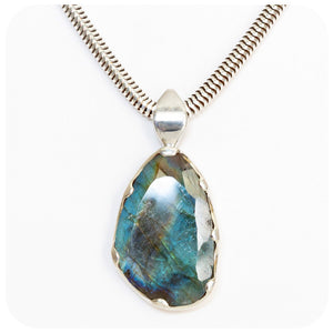 Rose cut Labradorite Pendant in Sterling Silver - 32.95