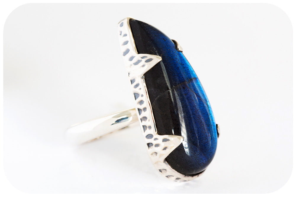 Magnificent Dark Blue Labradorite Ring Hand Made in 925 Sterling Silver - Victoria's Jewellery