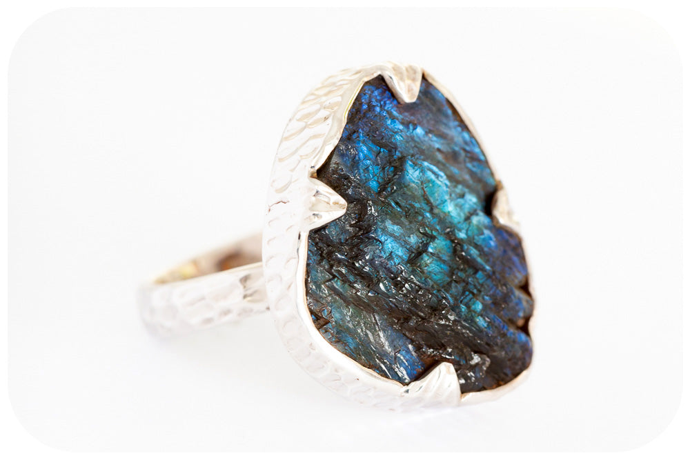 Rough cut 25 carat Labradorite Ring in Sterling Silver - Victoria's Jewellery