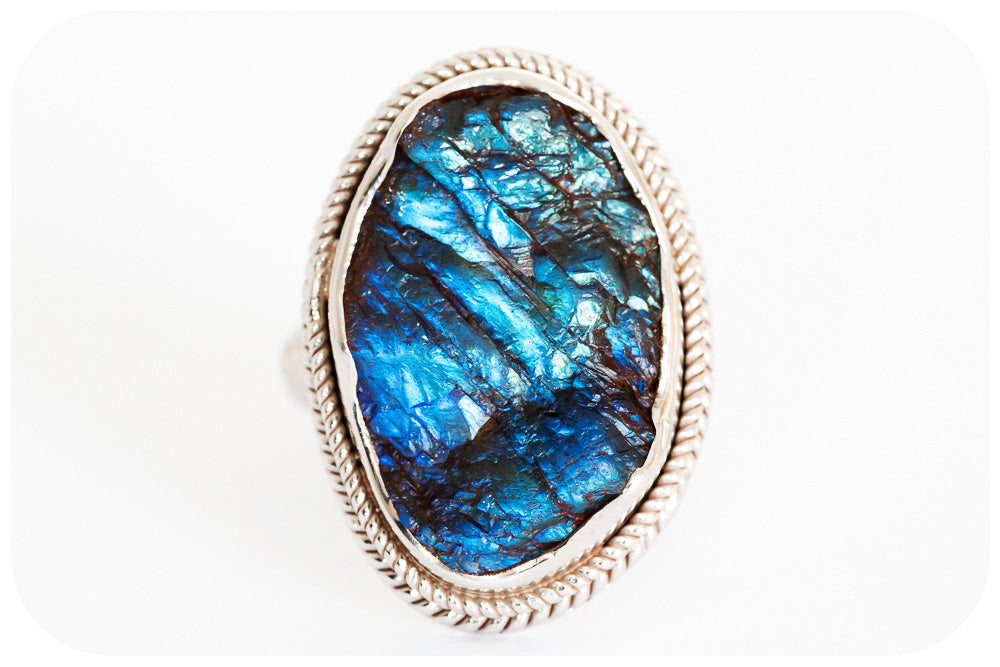 Beautifully Crafted Rough cut 24 carat Labradorite Ring in 925 Sterling Silver - Victoria's Jewellery