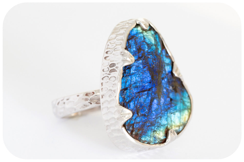 Naturally Stunning Rough Cut 35 carat Labradorite Ring Hand Made in 925 Sterling Silver - Victoria's Jewellery