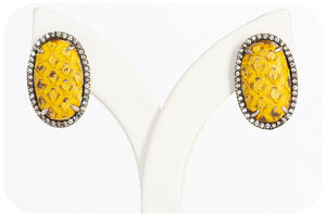 Yellow Leather Earrings with Blackened Silver and Cubic Zirconia - Victoria's Jewellery
