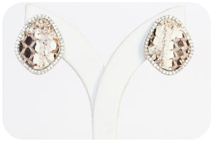 Leather and Cubic Zirconia Stud Earrings in Sterling Silver - Victoria's Jewellery