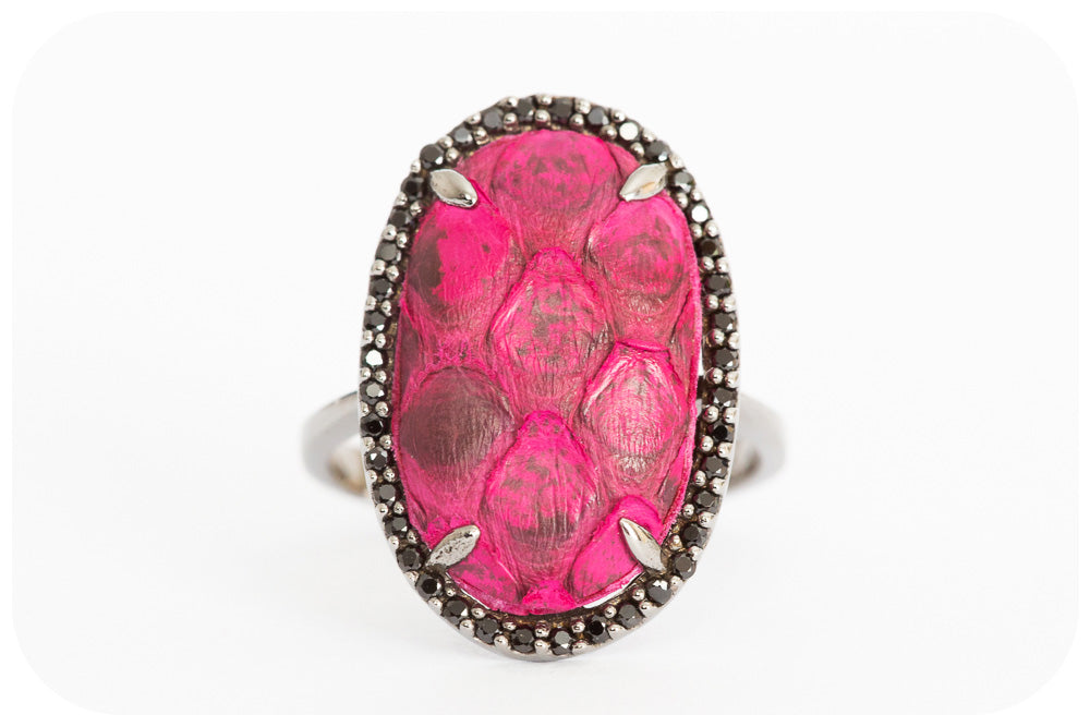 Pink Leather Ring with Black Rhodium Silver and Cubic Zirconia - Victoria's Jewellery