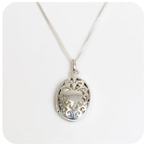 Silver Filigree Locket - Victoria's Jewellery
