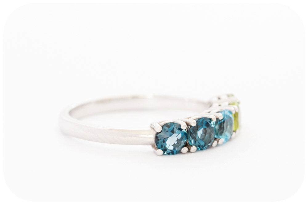 The Topaz and Peridot Half Eternity Ring in Sterling Silver