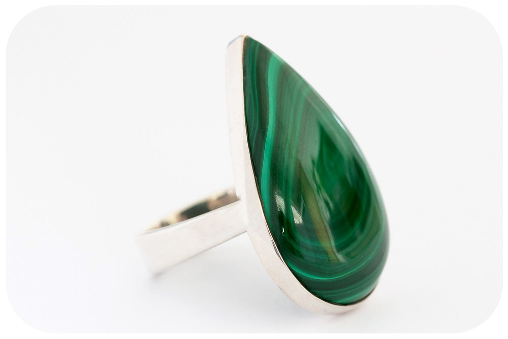 Pear cut Malachite Ring in Sterling Silver