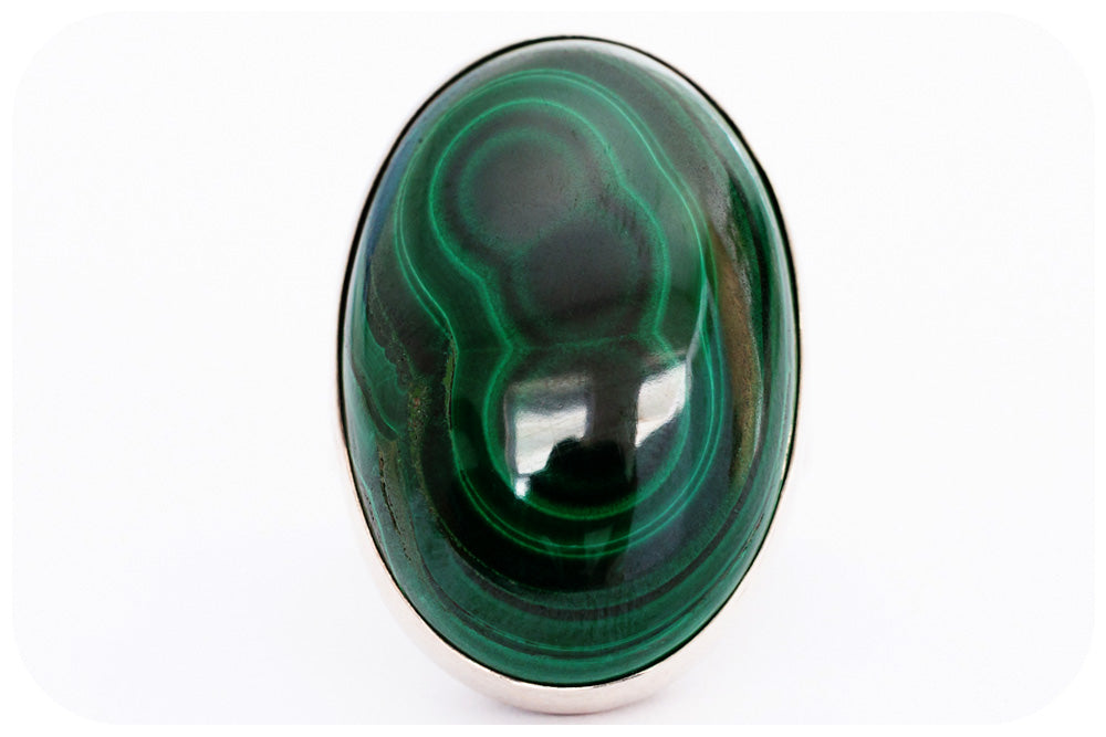 Oval cut Malachite Ring in Sterling Silver