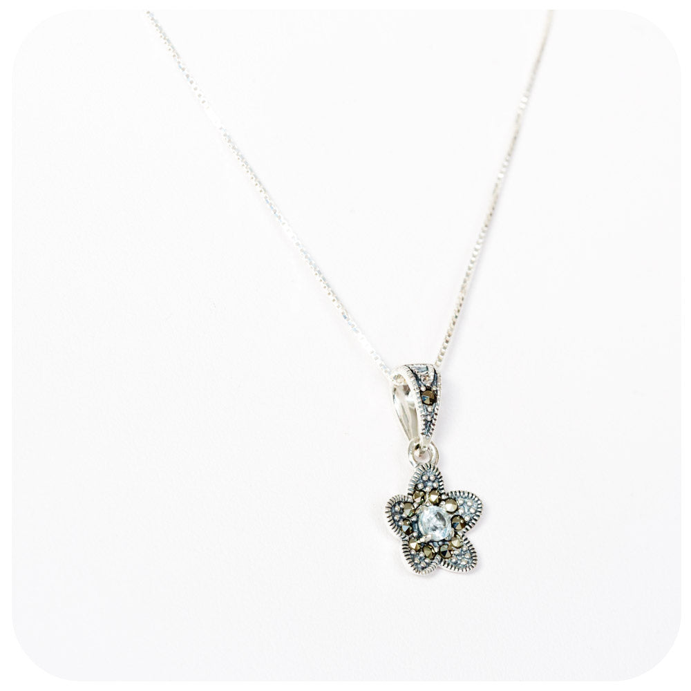 Blue Topaz and Marcasite Flower Pendant and Chain in Sterling Silver