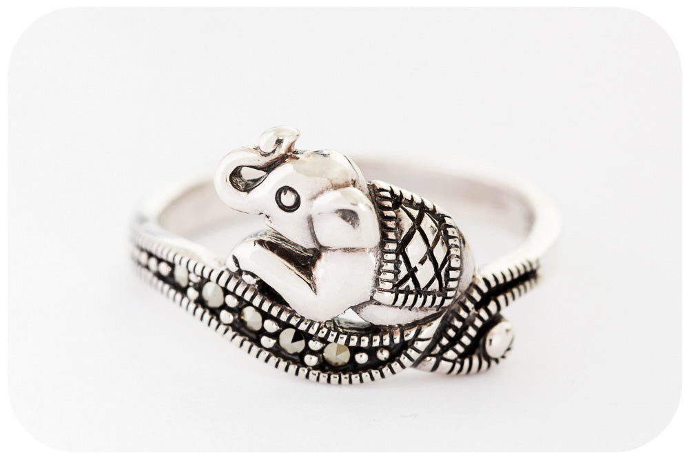 Sterling Silver Elephant Ring with Marcasite - Victoria's Jewellery