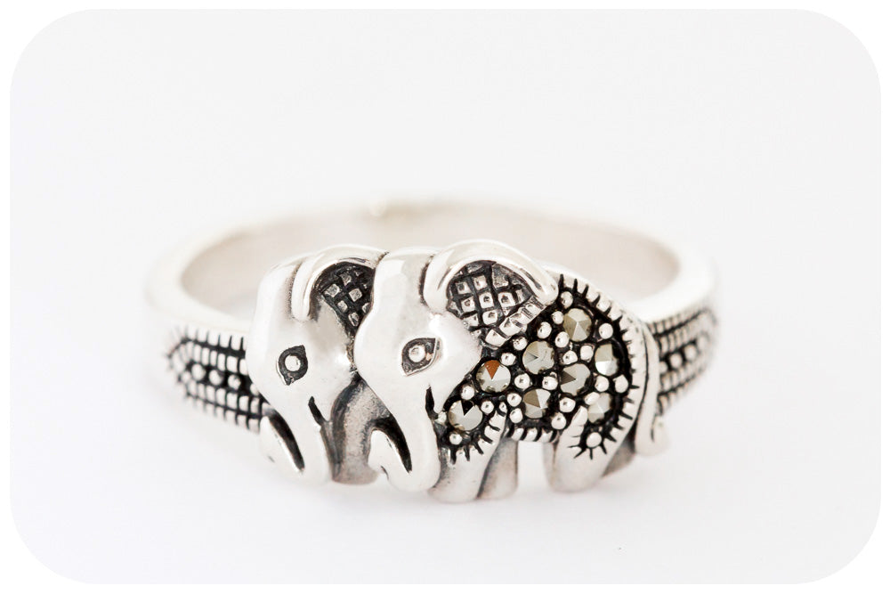Elephant Twin Ring in 925 Sterling Silver with Marcasite - Victoria's Jewellery