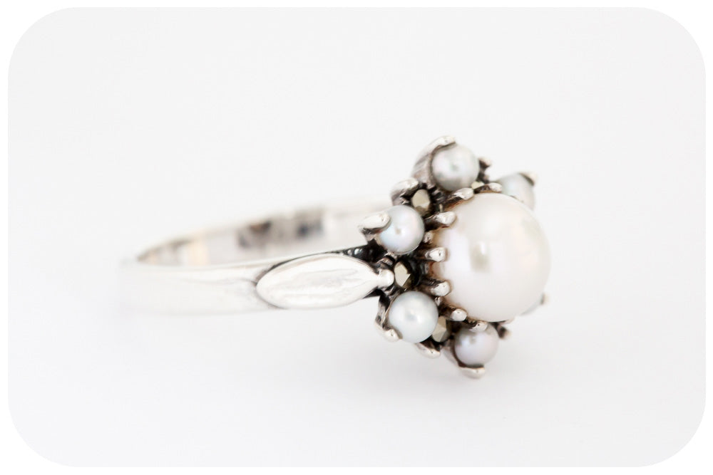 A Flowering Freshwater Pearl, Marcasite and 925 Sterling Silver Ring - Victoria's Jewellery