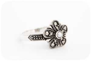 Dainty Marcasite Flower and Pearl Ring in 925 Sterling Silver - Victoria's Jewellery
