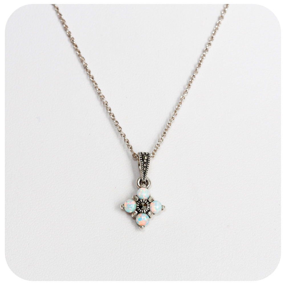 White Gilson Opal and Marcasite Pendant in Sterling Silver