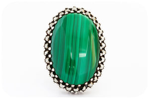 Oval Cabochon cut Malachite Ring in Sterling Silver with Marcasite Halo - Victoria's Jewellery
