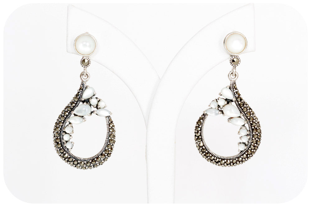 Mother of Pearl and Marcasite Drop Earrings in Sterling Silver