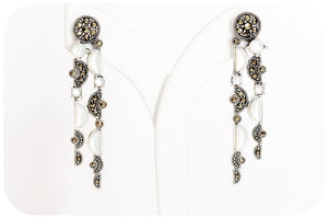 The Deco, Mother of Pearl and Marcasite Drop Earrings in Sterling Silver