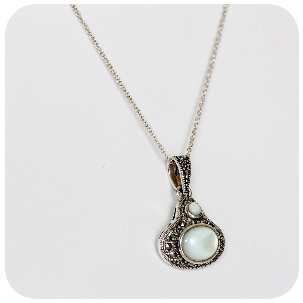 White Mother of Pearl and Marcasite Pendant in Sterling Silver