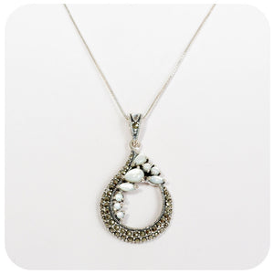 White Mother of Pearl and Marcasite Pendant and Chain in Sterling Silver