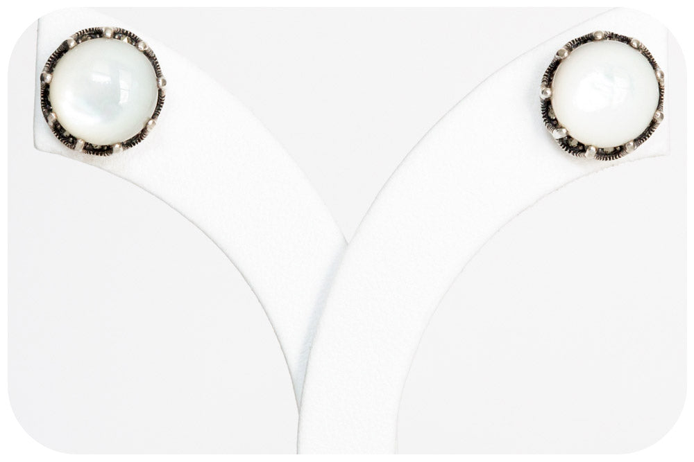 White Mother of Pearl and Marcasite Stud Earrings in Sterling Silver - 10mm