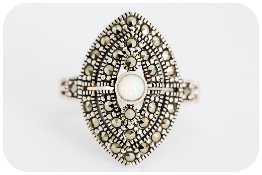 Moroccan White Gilson Opal and Marcasite Ring in 925 Sterling Silver - Victoria's Jewellery