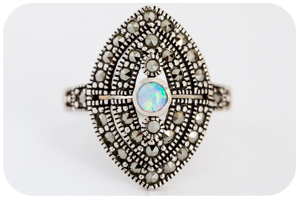 Moroccan inspired Gilson Opal and Marcasite Ring in 925 Sterling Silver - Victoria's Jewellery