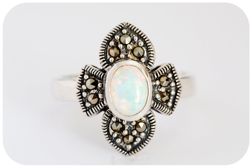 Fleur-de-lys, White Gilson Opal and Marcasite Ring in 925 Sterling Silver - Victoria's Jewellery