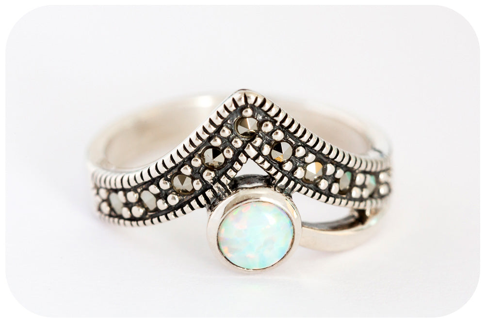 V is for Victoria's, White Gilson Opal and Marcasite Ring in 925 Sterling Silver - Victoria's Jewellery
