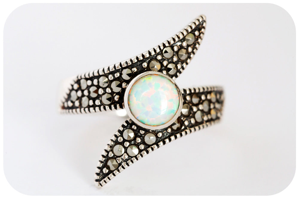 White Gilson Opal and Marcasite Ring in Sterling Silver - Victoria's Jewellery