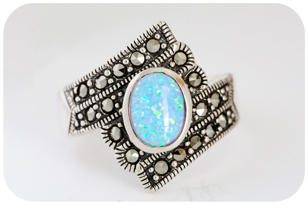 Victoria's Victorian Oval cut Gilson Opal and Marcasite Ring in 925 Sterling Silver - Victoria's Jewellery