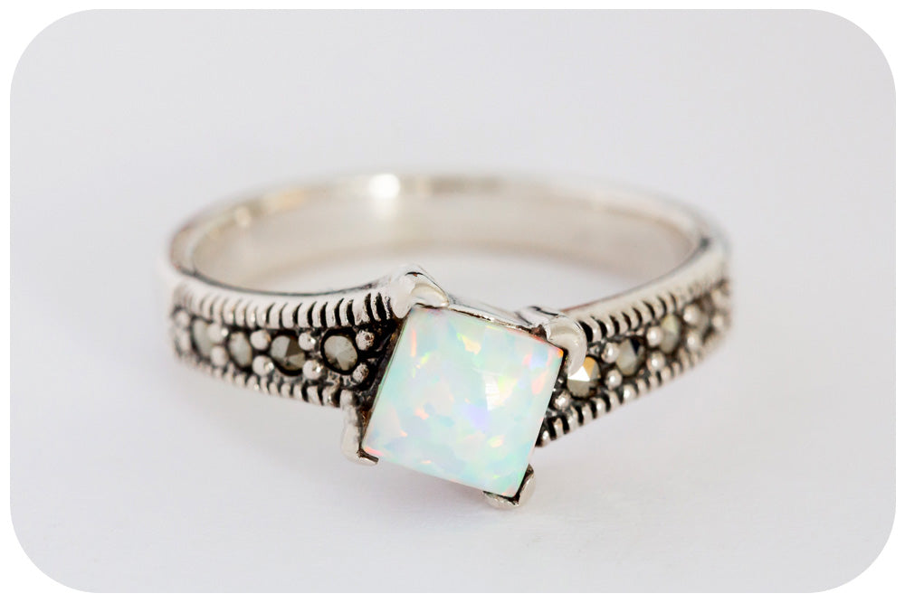 Dainty White Gilson Opal and Marcasite Ring in 925 Sterling Silver - Victoria's Jewellery