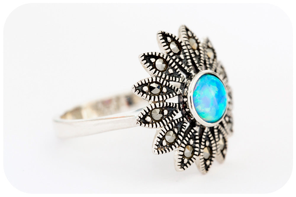 Gilson Opal and Marcasite Sun-Flower Ring in 925 Sterling Silver - Victoria's Jewellery