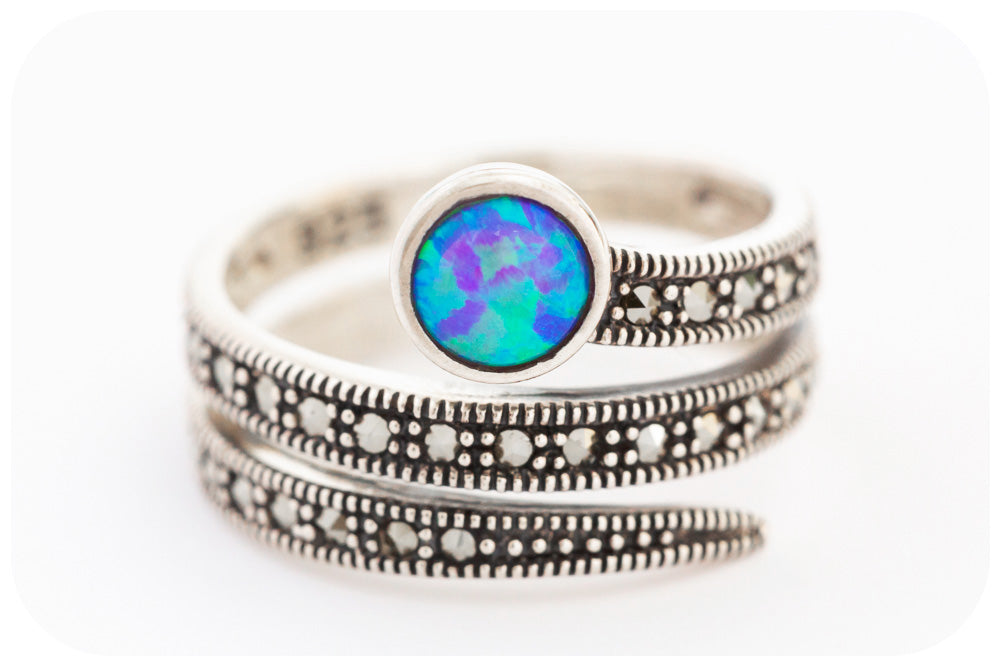 Gilson Opal and Marcasite Spiral Ring in 926 Sterling Silver - Victoria's Jewellery