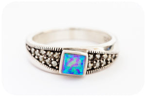 Petite Gilson Opal and Marcasite Ring in 925 Sterling Silver - Victoria's Jewellery