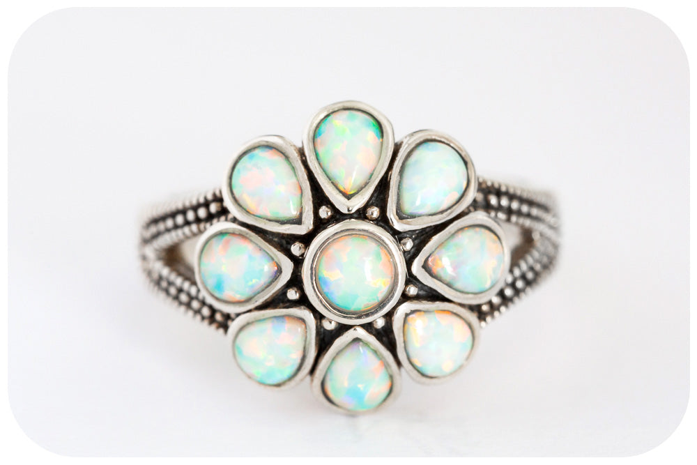 White Gilson Opal Daisy Ring in 925 Sterling Silver - Victoria's Jewellery